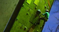 Climbing experienced climber training on the wall. Motivation. Mountain Stock Footage