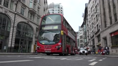 4K London Traffic at Piccadilly Circus, Crowd Roads with Cabs, Red English Buses Stock Footage
