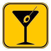 Martini glass button. Stock Illustration