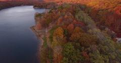 Lake Sebago Haverstraw New York New York north foliage flyover Stock Footage