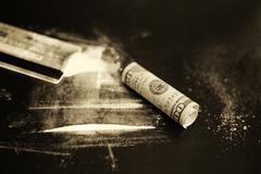 Monochrome scratch cocaine dollar banknote Kuvituskuvat