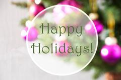 Blurry Balls, Rose Quartz, Text Happy Holidays Stock Photos