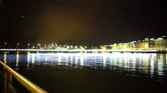 Evening Geneva city, beautiful view on lake and embankment, romantic scene Stock Footage