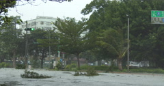 Strong Hurricane Wind Blows Debris Through City Streets Stock Footage