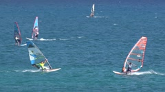 4K Windsurfing in Lefkada Greece, Water Sports View, Summer Fun Attractions Stock Footage