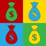 Pop art money simbol icons. Stock Illustration