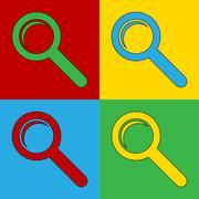 Pop art search simbol icons. Stock Illustration