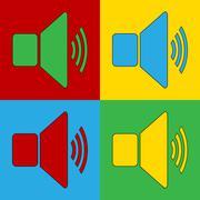 Pop art speaker volume simbol icons. Stock Illustration