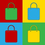 Pop art shopping bag simbol icons. Stock Illustration