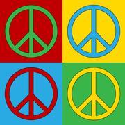Pop art peace symbol icons. Piirros