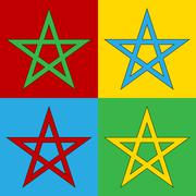 Pop art pentagram symbol icons. Piirros