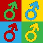 Gender male symbol button. Stock Illustration