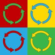 Pop art arrows circle symbol icons. Stock Illustration