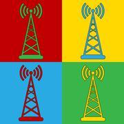 Pop art transmitter symbol icons. Stock Illustration