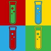 Pop art laboratory glass symbol icons. Stock Illustration