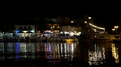 4K Lefkada Seaport in Greece, Ships View by Night, Yachts and Boats in Harbor Stock Footage
