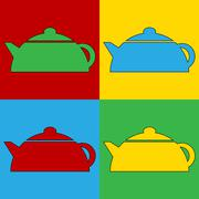Pop art kettle symbol icons. Stock Illustration