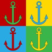 Pop art anchor symbol icons. Stock Illustration
