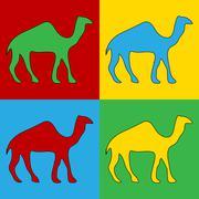 Pop art camel symbol icons. Piirros