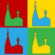 Pop art orthodox church symbol icons. Stock Illustration