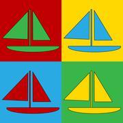Pop art sailing ship symbol icons. Stock Illustration
