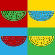 Pop art watermelon symbol icons. Stock Illustration