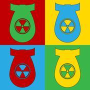 Pop art atom bomb symbol icons. Piirros