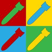 Pop art bomb symbol icons. Piirros