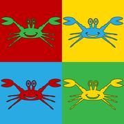 Pop art crab symbol icons. Stock Illustration