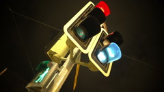 Traffic lights turn green and people cross the road, transportation, urban life Stock Footage