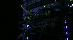Operating network equipment in the server room. Processing the data stream Stock Footage