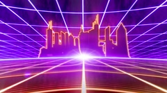 Retro 80s VHS tape video game intro landscape vector arcade wireframe city 4k Stock Footage