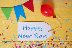 Party Label, Confetti, Balloon, Text Happy New Year Stock Photos