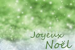 Green Sparkling Background, Snow, Joyeux Noel Means Merry Christmas Stock Illustration
