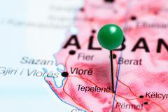 Tepelena pinned on a map of Albania Stock Photos