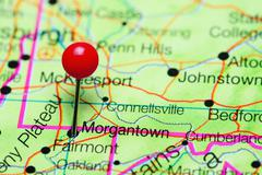 Morgantown pinned on a map of West Virginia, USA Stock Photos