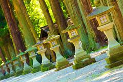 Slanted Stone Shrine Lanterns Footpath Day Trees Stock Photos