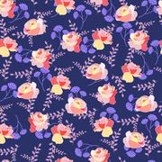 Floral pattern with roses and summer flowers on a blue background. Piirros