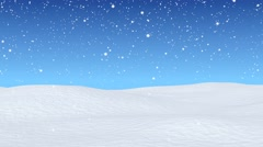 Snowfall beginning over snow field, seamless looping Stock Footage