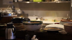 Normal Japanese local lunch set style restaurant bar with open kitchen in Tokyo Stock Footage