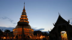 Temple Phra That Hariphunchai in Lamphun at night, Province Lamphun, Thailand. Stock Footage