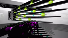 Abstract smooth interior with black sculpture and colored balls. Stock Footage