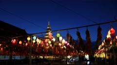 Lanterns at Loi Krathong Festival Stock Footage