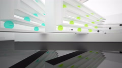 Abstract interior, sculptures of white and colored spheres. Stock Footage