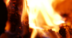 Glowing fire on fireplace to heat room Stock Footage