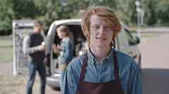 Ginger Owner of Mobile Coffee Van Stock Footage