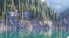 Lake Drone Kaindy Autumn 4K Stock Footage