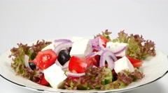 Fresh vegetable greek salad Stock Footage