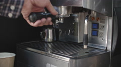Barista Making Coffee in Close Up Stock Footage