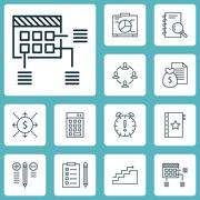 Set Of Project Management Icons On Money, Decision Making And Board Topics. E Stock Illustration